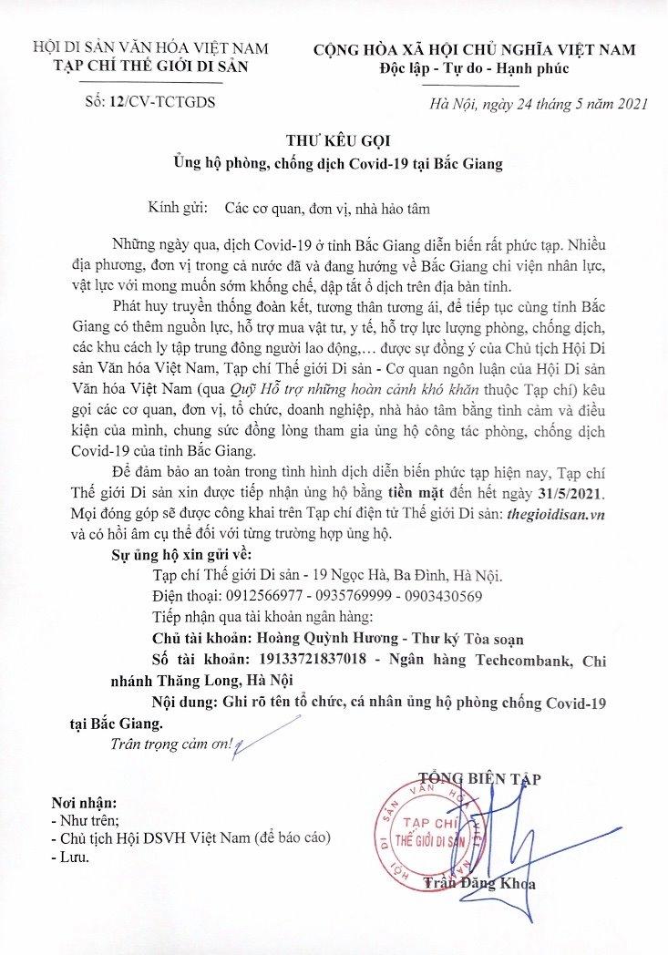 Những tấm lòng hướng về vùng dịch Bắc Giang (Danh sách lần 1)